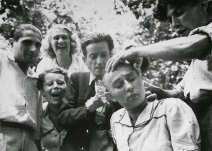 Sorry, nazi collaborators heads shaved publicly